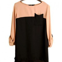 Color Block Design Chiffon Blouse with Button Closure to Back