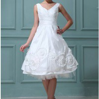 Trendy A-line Dual Straps V-Neck Floral Short Wedding Dress With Bowknot