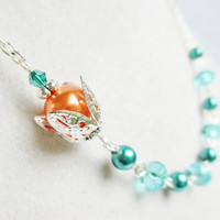 Teal Pearl & Crystals and Orange Pearl Silver Flower Beaded Necklace