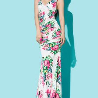 Hot Floral Print Sleeveless Ruched Dress - OASAP.com