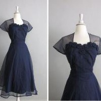 1940s vintage sheer navy rosette party dress by allencompanyinc