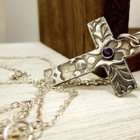 Fine Silver Cross Pendant Purple Gemstone Amethyst Medieval Cross