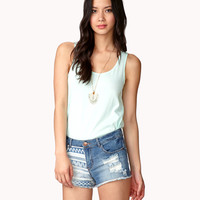 Destroyed Tribal Print Denim Shorts | FOREVER21 - 2047108645