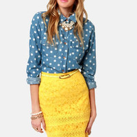 Sittin&#x27; Pretty Yellow Lace Pencil Skirt