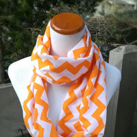 Orange infinity Chevron Scarf soft -Jersey knit