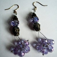 Color Changing Purple to Blue Crystal Dangle Earrings