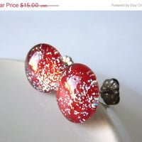 Red Earrings, Glitter Earrings, Hypoallergenic Earrings, Titanium Post Earrings