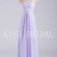 A-line One-shoulder Sleeveless sweetheart Chiffon Bridesmaid Dress With Rhinestone Free Shipping