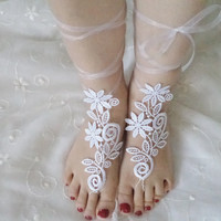 beach shoes, bridal sandals, flowers lariat sandals, wedding bridal, barefoot sandles, White accessories, wedding shoes, summer wear.