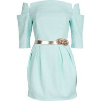 light green jacquard belted dress - party / evening dresses - dresses - women - River Island