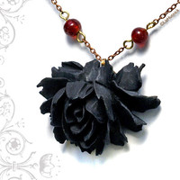 Black Rose Necklace. Victorian Style Gothic Wedding Jewelry.