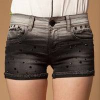 Black Denim Shorts with Rhinestones for Women
