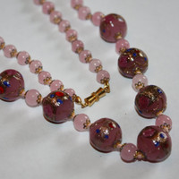 Vintage Necklace Pink Wedding Cake Bead Art Glass 1940s Jewelry