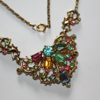 Vintage Necklace Pastel Rhinestone Pendant Collar 1950s Jewelry