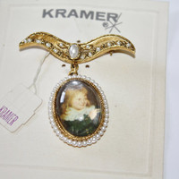 Vintage Brooch Kramer Seed Pearl Portrait 1960s Jewelry Mint on Card