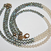 Vintage Necklace 3 Strand Iridescent Pearl 1950s Jewelry