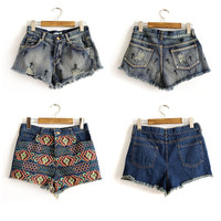 SakuraShop  Cross Ethnic Embroidery Denim Shorts