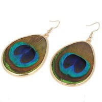 Amazon.com: Gold Oval Green Peacock Plume Waterdrop Dangle Hook Earrings: Jewelry