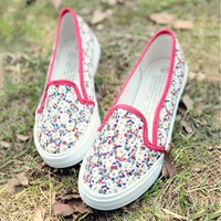 Summer Flowers Canvas Shoes/ Pink
