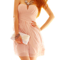 Pink Strapless Low-cut Sweet Dress