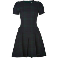 MCQ ALEXANDER MCQUEEN Black/Green Tartan Origami Wool Dress