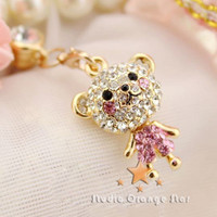 1PC Bling Crystal Cute Pink Shy Bear Earphone by StudioOrangeStar