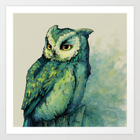 Green Owl Art Print by Teagan White