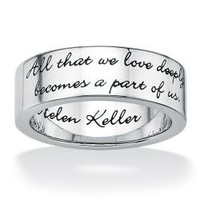 Toscana Stainless Steel Inspirational Message Band | Overstock.com