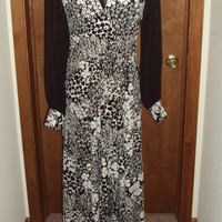Vintage Black White Maxi Dress Sheer Sleeve Plunging V Boho Hippie Dress Empire Tie Back