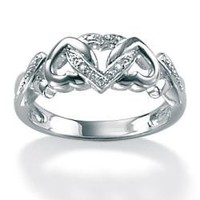 Isabella Collection Platinum over Silver Diamond Accent Heart Ring | Overstock.com