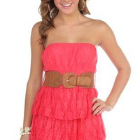 all over floral lace leatherette belted triple tiered dress - 1000044678 - debshops.com