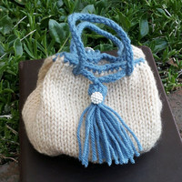 Beige and Blue Victorian Knitted Drawstring Pouch Purse