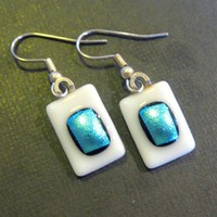 Aqua Earrings, Pierced Earrings, Hypoallergenic Earrings, Fused Glass Jewelry - Tropical Dream - 699 -2