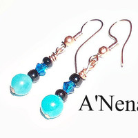 Earrings  : Genuine Jade, Hematite and  Swarovski Crystal &quot;Successful &amp; Motivated&quot;