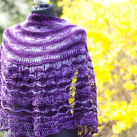 Purple Semi Circular Shawl, Lace Half Circular Wrap, Femine Handknitted shawl