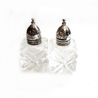 Mini Crystal Salt and Pepper Shakers Silver Plated Lids