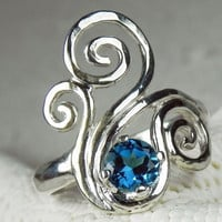 RING  Swirl Ring with Ocean Blue Topaz   Wave by FantaSeaJewelry