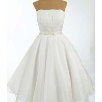 Strapless 50s Inspired Wedding Dresses-White Chiffon 50s Style Tea Length Dress