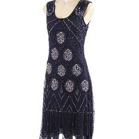 Roaring 20s Reproduction Beaded Black Flapper Dress-1920's Style Dresses