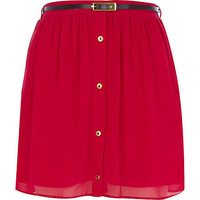 Pink button through belted mini skirt  - mini skirts - skirts - women