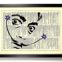 Salvador Dali Mustache Repurposed Book Upcycled Dictionary Art Vintage Book Print Recycled Vintage Dictionary Page Buy 2 Get 1 FREE