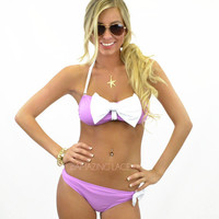 Beach Party Beauty Purple Purple & White Bow Bikini
