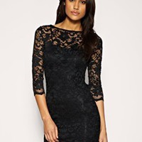  ASOS Slash Neck Lace Body-Conscious Dress at ASOS