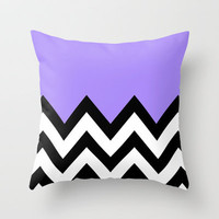 PURPLE COLORBLOCK CHEVRON Throw Pillow by natalie sales