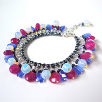 Candy colored bracelet - fucsia & light blue bracelet - opalite, jade, hematite, quartz - mixed stone charm bracelet by Sparkle City Jewelry