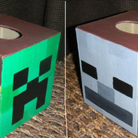 Hand Painted Custom MINECRAFT Tissue Kleenex Box Cover Creeper Steve Enderman