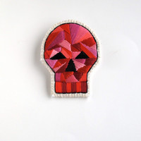 Skull brooch with geometric design embroidered for Halloween Day of the Dead or anytime