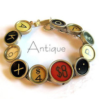 Eclectic vintage typewriter key bracelet Red Cash by lizzybleu