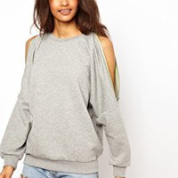 ASOS Sweatshirt with Zip Cold Shoulder at asos.com