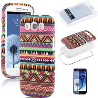 Amazon.com: Pandamimi ULAK 3in1 Hybrid High Impact White Hard Aztec Tribal Pattern + Pink Silicone Case Cover For Samsung Galaxy S3 SIII i9300 +Screen Protector by ULAK: Cell Phones & Accessories